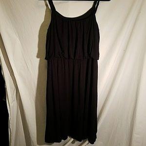 ANN TAYLOR LOFT Black Cotton Blend Dress